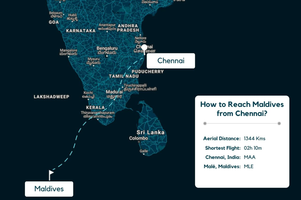 Chennai to Maldives Map - Distance, Route & Flight Duration