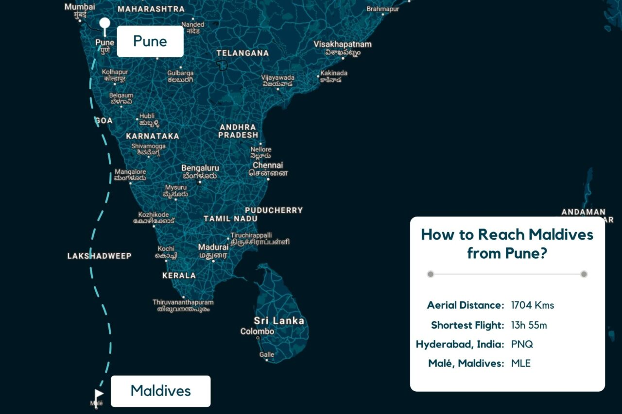 Pune to Maldives Map - Distance, Route & Flight Duration