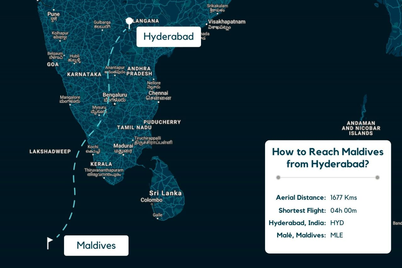 Hyderabad to Maldives Map - Distance, Route & Flight Duration