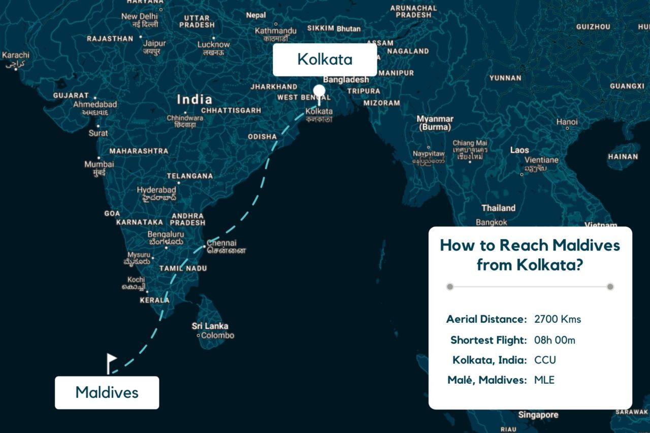 Kolkata to Maldives Map - Distance, Route & Flight Duration