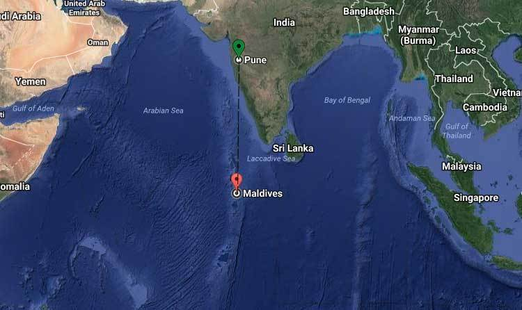 Pune to Maldives Distance by Flight, Cruise, Duration, Route, Map